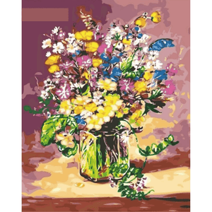 Flower Vase - Paint By Numbers Kit For Adults - Easy Paint By Number Kits for adults- DIY Flowers
