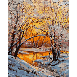 Snow River - Paint By Numbers Kit For Adults - Easy Paint By Numbers - DIY Snow