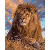 Waiting Lion - Paint By Numbers Kit For Adults - Easy Paint By Numbers - DIY Animals