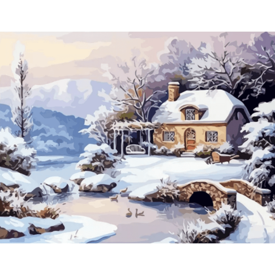 Snow Scenery - Paint By Numbers Kit For Adults - Easy Paint By Numbers - DIY Snow