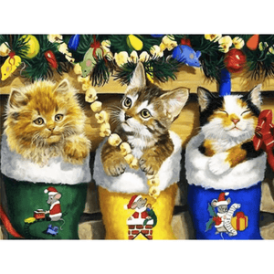 Gold Cats - Paint By Numbers Kit For Adults - Easy Paint By Numbers - DIY Animals