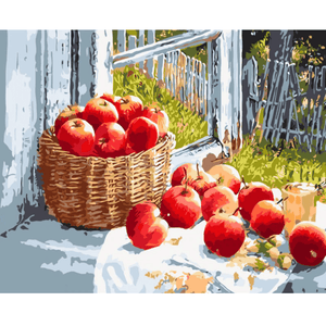 Apple Basket - Paint By Numbers Kit For Adults - Easy Paint By Numbers - DIY Objects