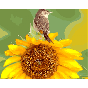 Bird Sunflower - Paint By Numbers Kit For Adults - Easy Paint By Number Kits for adults- DIY Flowers
