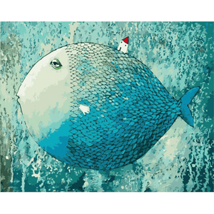Blue Fish - Paint By Numbers Kit For Adults - Easy Paint By Numbers - DIY Miss