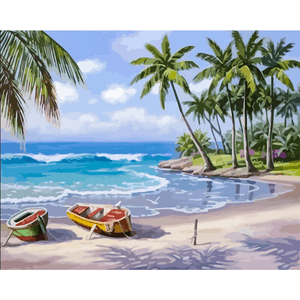 Boat Seascape - Paint By Numbers Kit For Adults - Easy Paint By Numbers - DIY Ocean