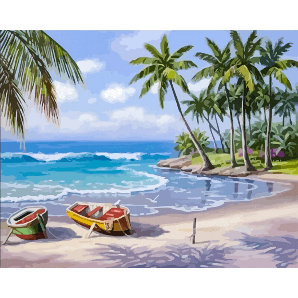 Boat Seascape - Paint By Numbers Kit For Adults - Easy Paint By Number Kits for adults- DIY Ocean