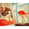 Cat n Fish - Paint By Numbers Kit For Adults - Easy Paint By Number Kits for adults- DIY Animals