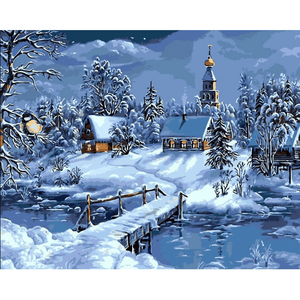 Christmas Here - Paint By Numbers Kit For Adults - Easy Paint By Numbers - DIY Snow