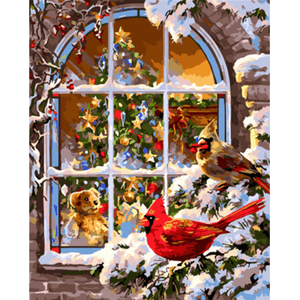 Christmas Snow Birds - Paint By Numbers Kit For Adults - Easy Paint By Numbers - DIY Snow