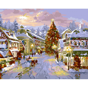 Christmas Town - Paint By Numbers Kit For Adults - Easy Paint By Numbers - DIY Miss