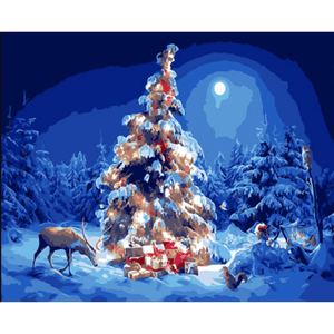 Christmas Trees - Paint By Numbers Kit For Adults - Easy Paint By Numbers - DIY Snow