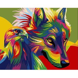 Colourful Wolf & Eagle - Paint By Numbers Kit For Adults - Easy Paint By Numbers - DIY Animals