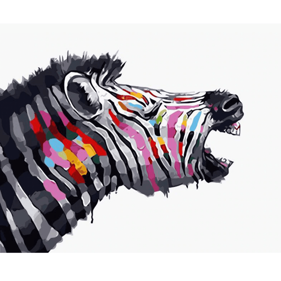 Colourful Zebra - Paint By Numbers Kit For Adults - Easy Paint By Number Kits for adults- DIY Animals