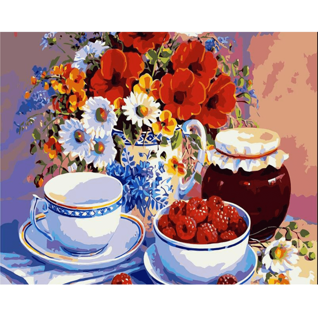 Cups & Flowers - Paint By Numbers Kit For Adults - Easy Paint By Number Kits for adults- DIY Flowers