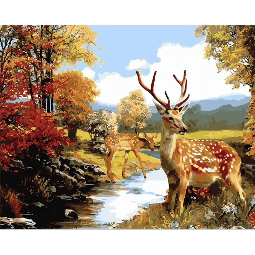 Deer By River - Paint By Numbers Kit For Adults - Easy Paint By Numbers -