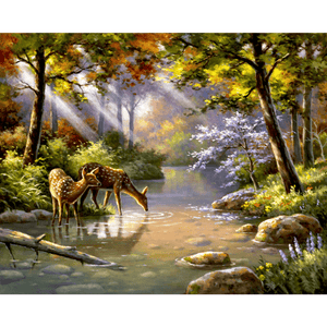 Deers in Forest - Paint By Numbers Kit For Adults - Easy Paint By Number Kits for adults- DIY Land