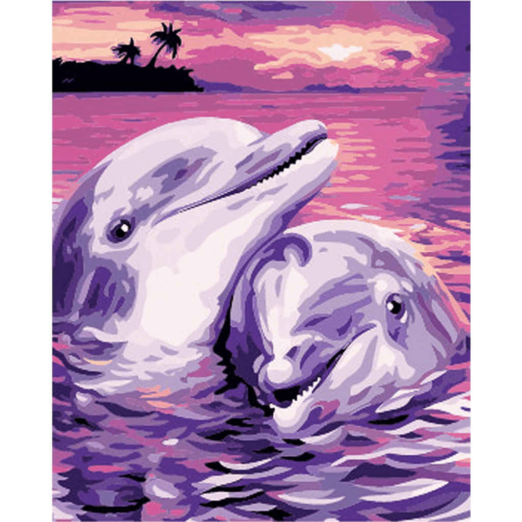 Dolphine Couple - Paint By Numbers Kit For Adults - Easy Paint By Number Kits for adults- DIY Love