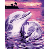 Dolphine Couple - Paint By Numbers Kit For Adults - Easy Paint By Numbers - DIY Love
