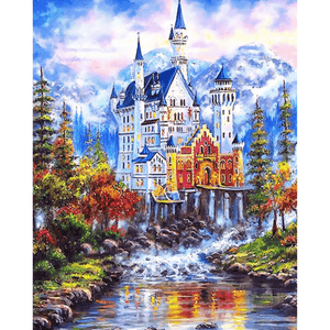Fairy Tale Castle - Paint By Numbers Kit For Adults - Easy Paint By Number Kits for adults- DIY Land