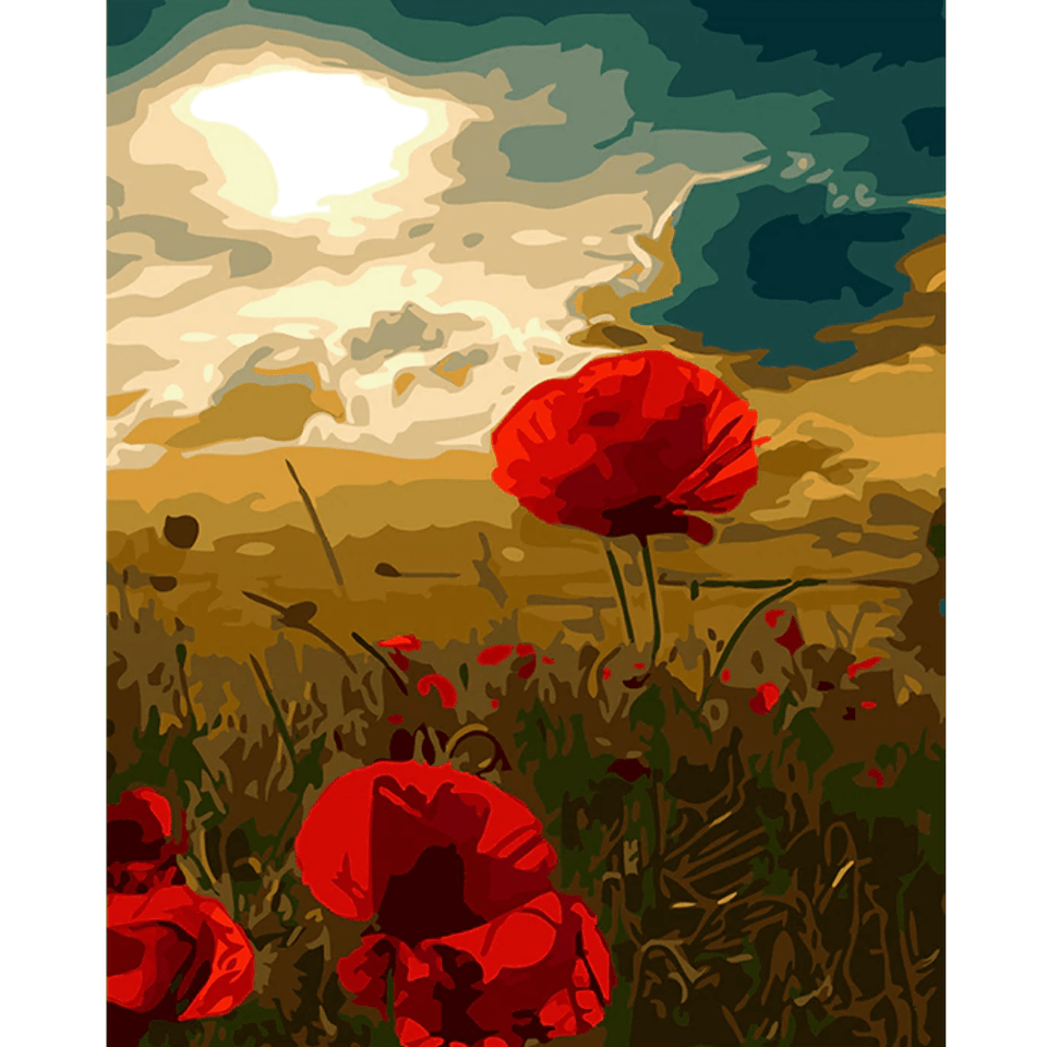 Flowers n Sunset - Paint By Numbers Kit For Adults - Easy Paint By Numbers - DIY Flowers