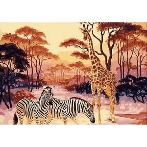 Giraffe N Zebra - Paint By Numbers Kit For Adults - Easy Paint By Numbers - DIY Animals
