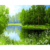 Green Lake - Paint By Numbers Kit For Adults - Easy Paint By Numbers - DIY Land
