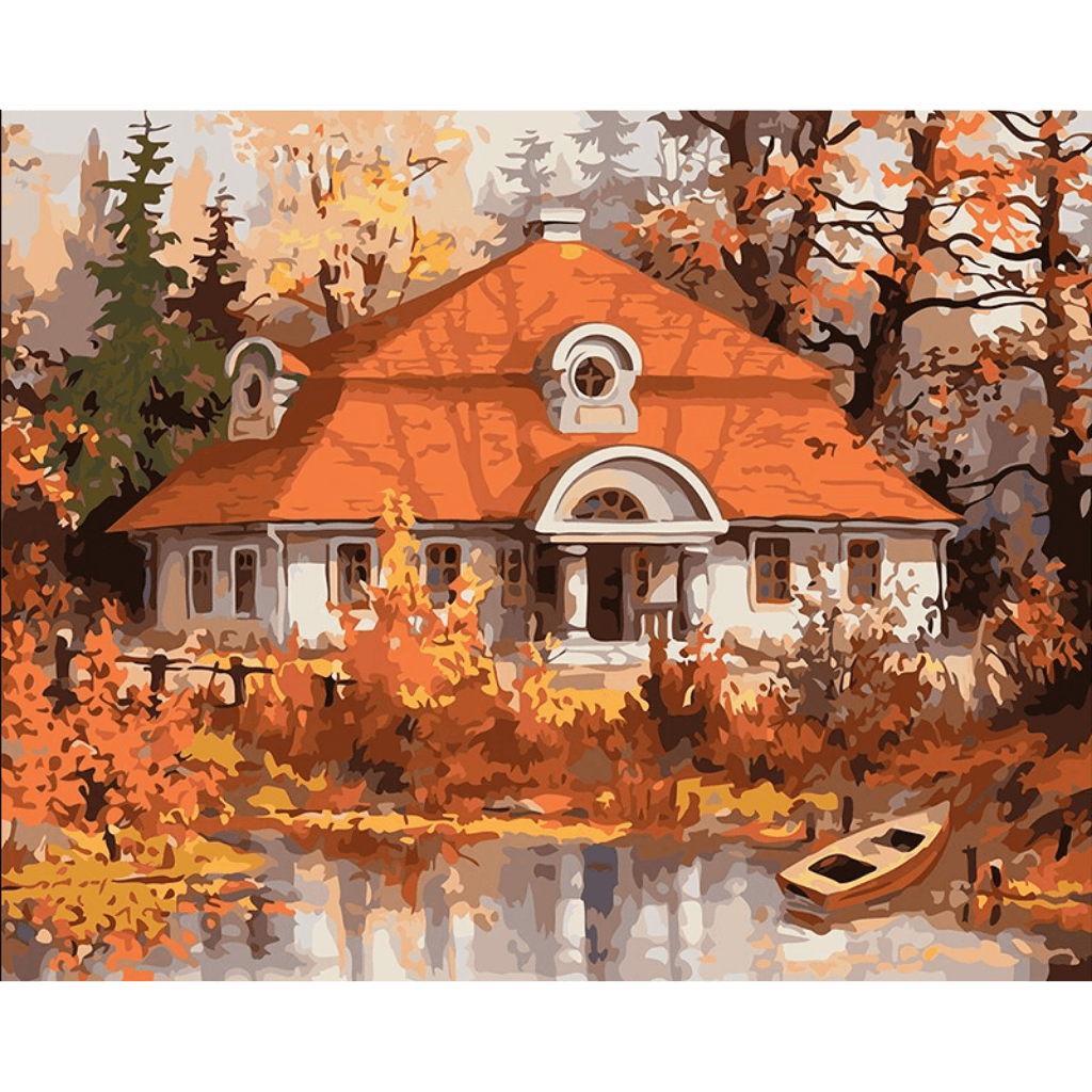 Home by Lake - Paint By Numbers Kit For Adults - Easy Paint By Numbers - DIY City