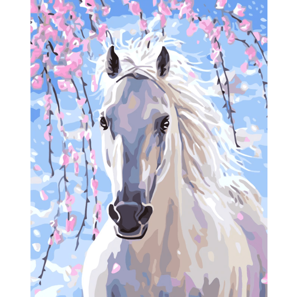 Horse in Snow - Paint By Numbers Kit For Adults - Easy Paint By Numbers - DIY Animals