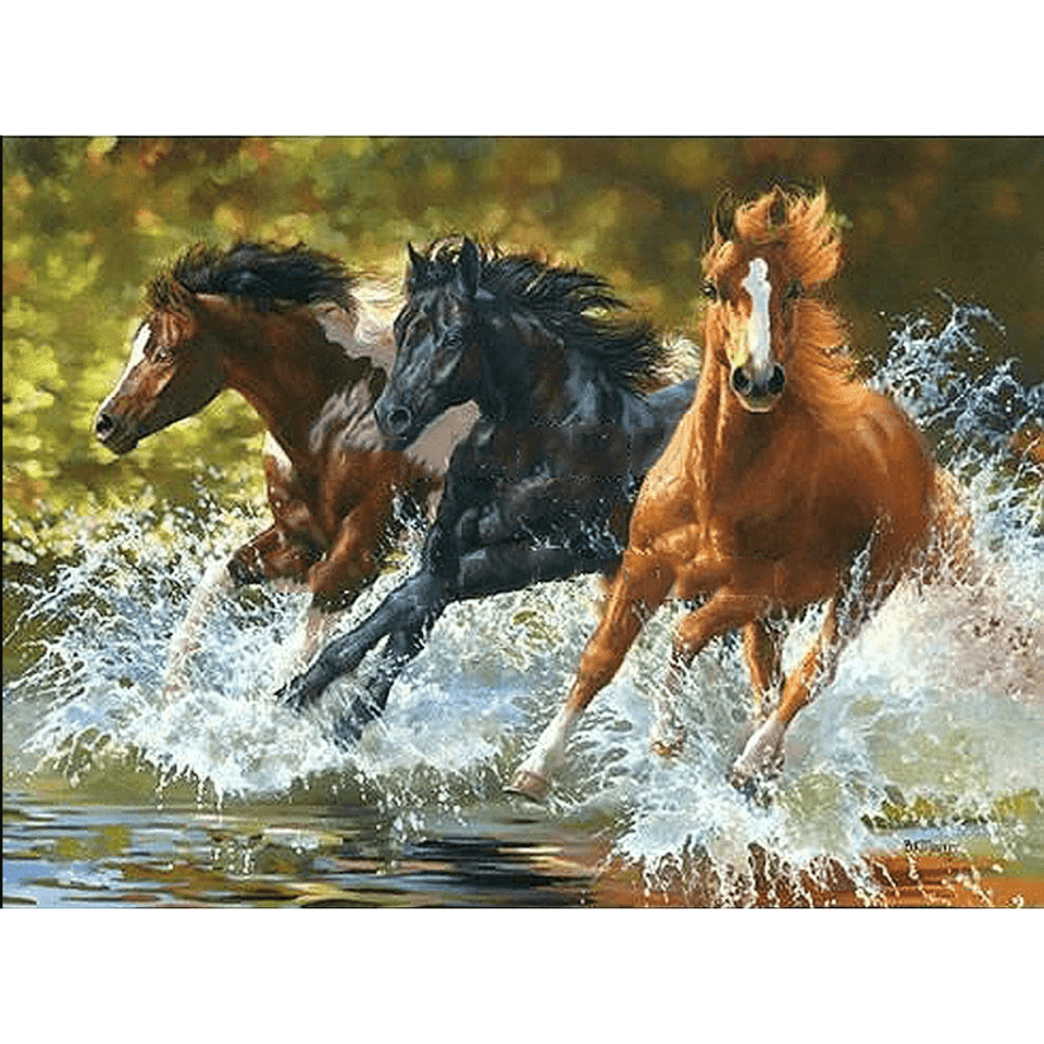 Horses Running in Water - Paint By Numbers Kit For Adults - Easy Paint By Numbers - DIY Animals