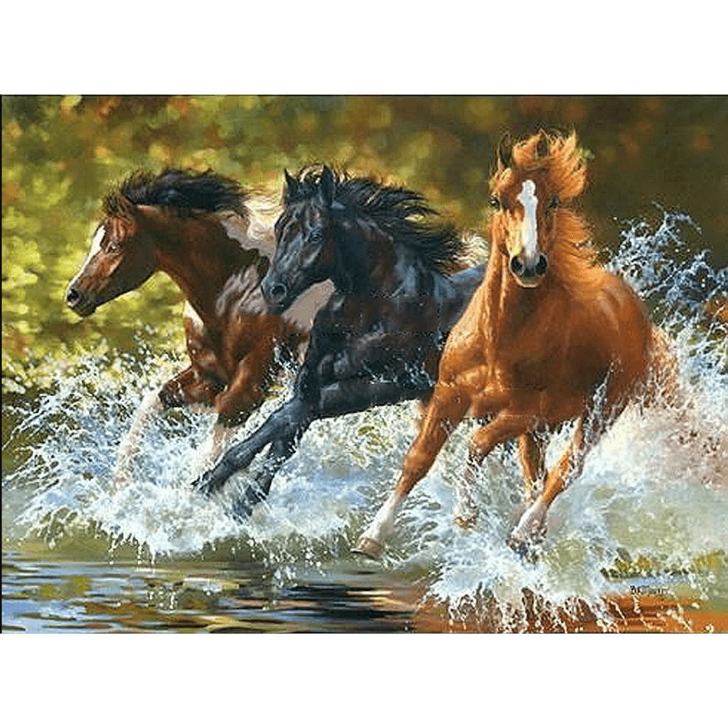 Horses Running in Water - Paint By Numbers Kit For Adults - Easy Paint By Number Kits for adults- DIY Animals