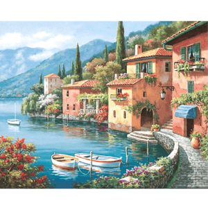 Lakeside Villa - Paint By Numbers Kit For Adults - Easy Paint By Number Kits for adults- DIY City