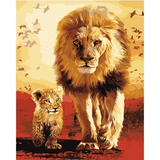 Lion Family - Paint By Numbers Kit For Adults - Easy Paint By Numbers - DIY Animals