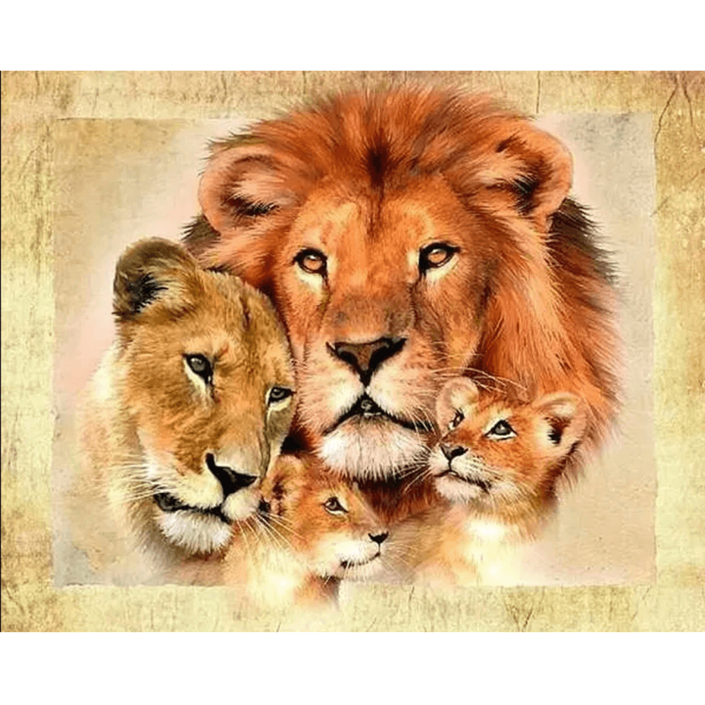 Lion Family - Paint By Numbers Kit For Adults - Easy Paint By Number Kits for adults- DIY Animals