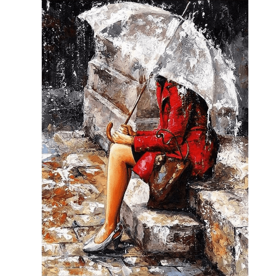 Lover Waiting in Rain - Paint By Numbers Kit For Adults - Easy Paint By Number Kits for adults- DIY Love