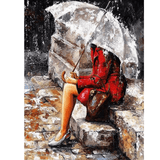 Lover Waiting in Rain - Paint By Numbers Kit For Adults - Easy Paint By Numbers - DIY Love