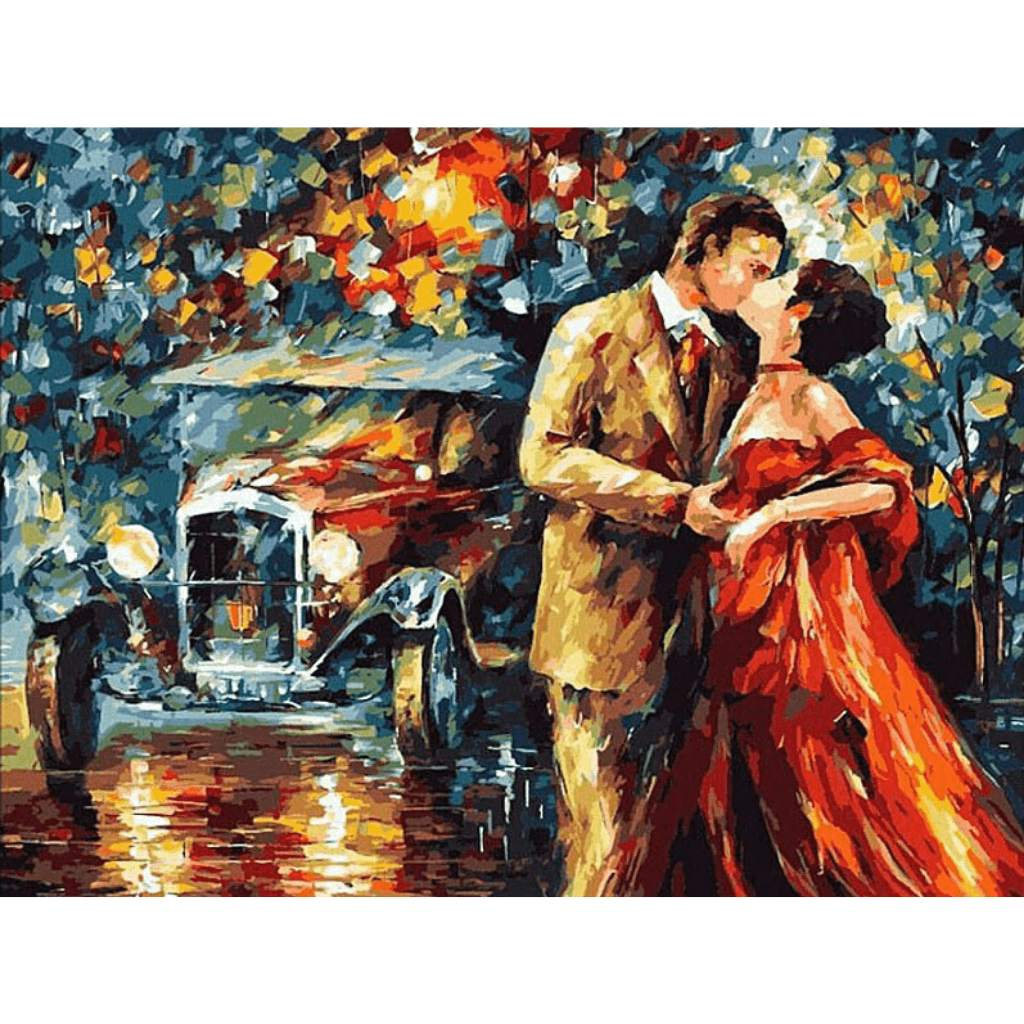 Lover In The Rain - Paint By Numbers Kit For Adults - Easy Paint By Numbers - DIY Love