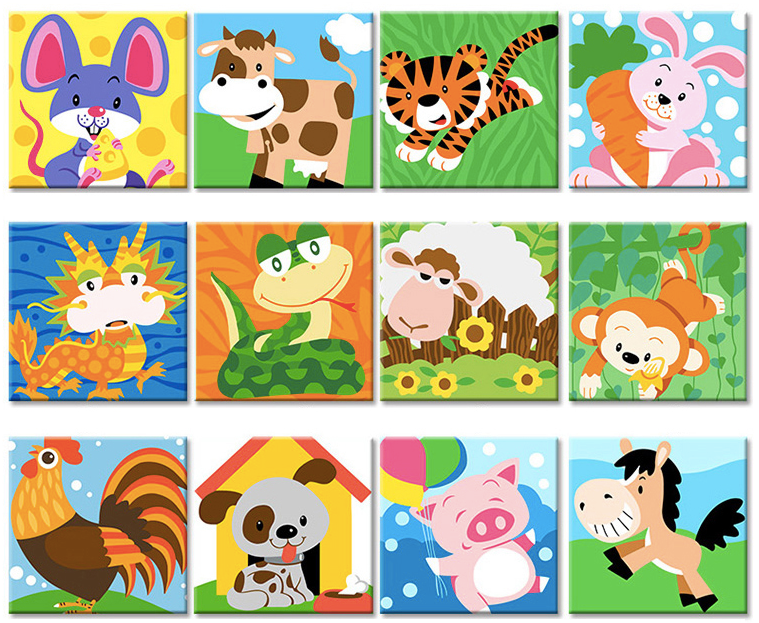 Animals Love - Painting By Numbers for Kids - Easy Paint By Numbers - DIY Kids
