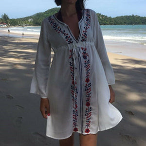 Turkish Beachwear Cover Up Embroidery Vintage Swimwear Loose Beach Dress SMALL
