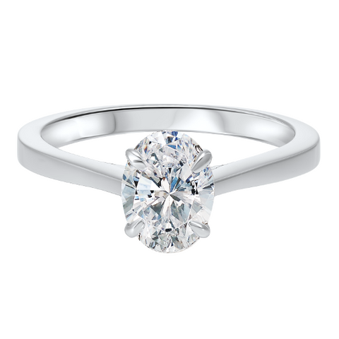white gold oval diamond solitaire ring
