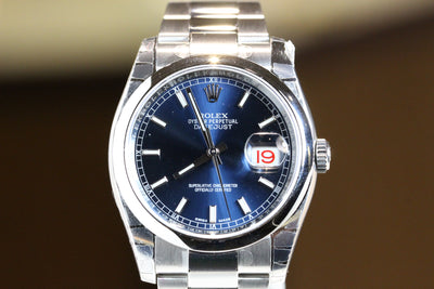 36mm Pre-Owned Rolex Datejust SS Blue Index Dial Oyster Band