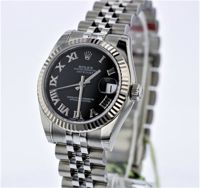 31mm Pre-Owned Rolex Datejust SS Black Roman Numeral Dial Jubilee Band
