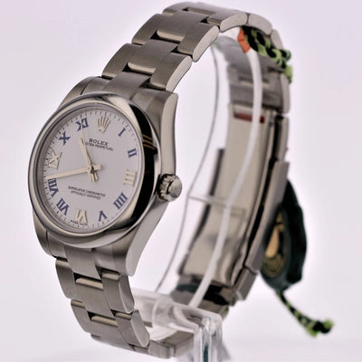 31mm Pre-Owned Rolex Oyster Perpetual SS White Roman Numeral Dial Oyster Band