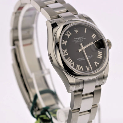 31mm Pre-Owned Rolex Datejust SS Black Roman Numeral Dial Oyster Band