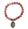 Salt of the Earth - St. Peregrine/Cancer Patient Medal with Cherry Quartz