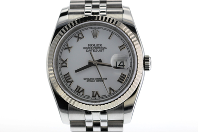 36mm Pre-Owned Rolex Datejust SS White Roman Numeral Dial Jubilee Band
