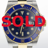 40mm Pre-Owned Rolex Submariner SS/18Y Blue Dial Blue Ceramic Bezel Oyster Band