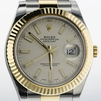 41mm Pre-Owned Rolex Datejust SS/18Y Ivory Dial Oyster Band