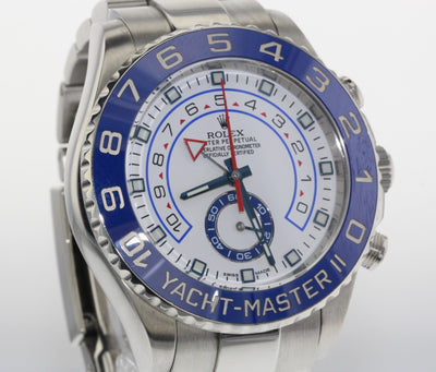 44mm Pre-Owned Rolex Yachtmaster II SS White Dial Blue Bezel Oyster Band