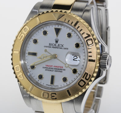 40mm Pre-Owned Rolex Yachtmaster SS/18Y White Dial Oyster Band