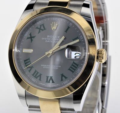 41mm Pre-Owned Rolex Datejust SS/18Y Gray Roman Numeral Dial Oyster Band